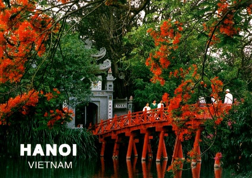 Vietname hanoi red bridge